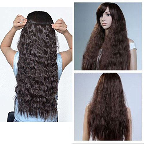 5 Minute Diy Halloween Costumes (13colors Synthetic Fiber Clips in on Hair Extension One Piece 5 Clips 3/4 Full Head Long Straight Curly Wavy 22 inch Corn Wave (Dark Brown))