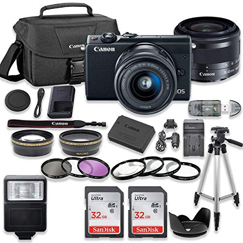 Canon EOS M100 Mirrorless Digital Camera (Black) Bundle with Canon EF-M 15-45mm f/3.5-6.3 is STM Lens, 2pc SanDisk 32GB Memory Cards + Accessory Kit