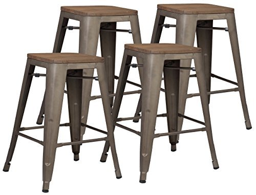 Wood Finish Bronze Bar Stool (Poly and Bark Trattoria 24