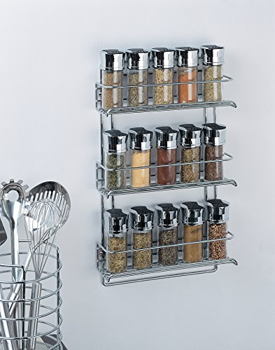 Organize It All 3-Tier Wall-Mounted Spice Rack (Chrome)