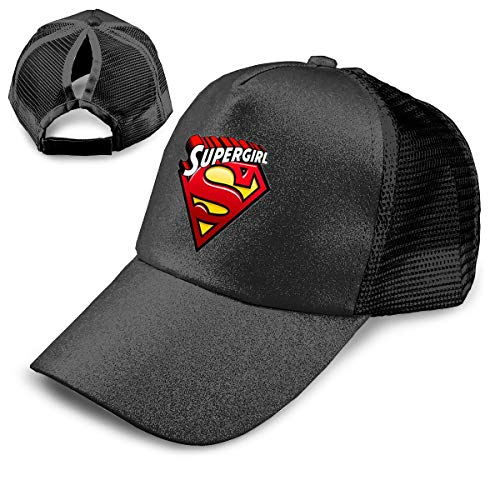 NewCap Symbol for Women Rights Superwoman Fashionable Ponytail Baseball Cap Sequined Trucker Hat Adjustable Ponytail Holder Visor -