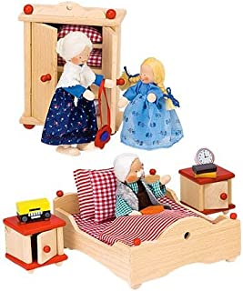 product image for Magic Cabin Beautifully Detailed Wooden Dollhouse Furniture Sets, 4-Piece Bedroom