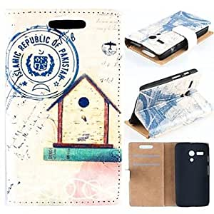 Old Eiffel Tower Pattern Clamshell High-Grade PU Leather Full Body Case for Motorola Moto G