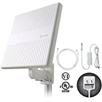 ANTOP Outdoor TV Antenna, Omni-directional 360° Reception 65 Miles TV Amplified Antenna for VHF/UHF, Tools-free Installation, Anti-UV Coating and 16ft Coaxial Cable