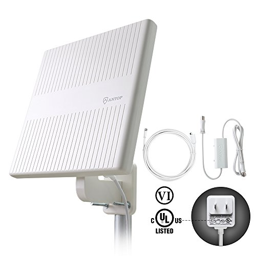 ANTOP HDTV Antenna Outdoor, 360° Omni-Directional Amplified TV Antenna 65 Miles Reception for VHF/UHF Signal, Tools-Free Installation, Anti-UV Coating and 16ft Coaxial Cable