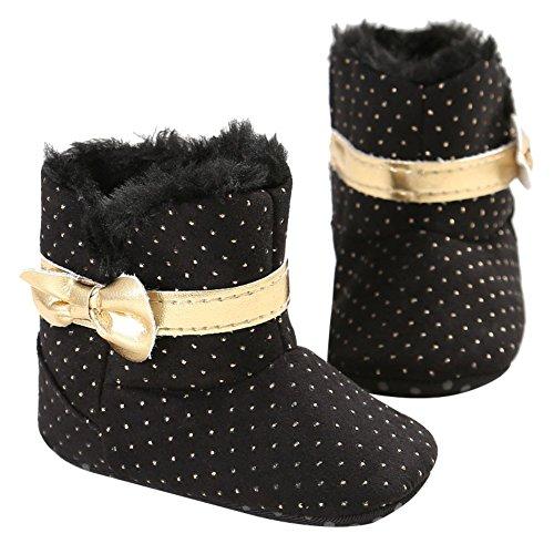 ESHOO Kids Baby Cute invierno cálido botas de nieve zapatos de suela blanda caqui Talla:6-12 meses negro