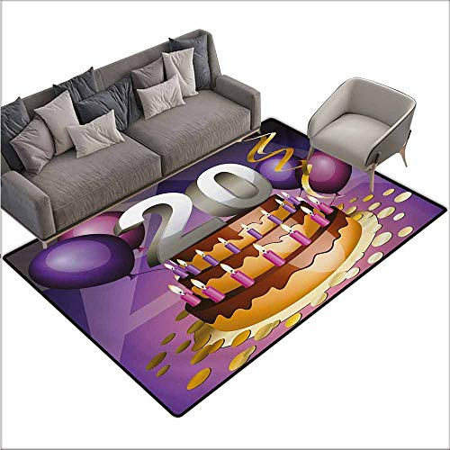 Bath Rug Slip 20th Birthday Cartoon Style Illustraion of a Birthday Cake Chocolate Frosting and Candles Personality W67 xL102 Multicolor