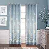 Anady Top Blue Cutains Dandelion Flower Drapes 2 Panel Decro Curtains for Livingroom Drapes Rod Pocket 72 inch Extra Wide(Customized Available) For Sale