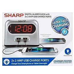 Sharp Double USB Alarm Clock