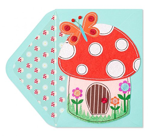 Papyrus Embellished Greeting Card - Handmade Colorful Felt Mushroom Butterfly House - Lots and Lots of Love and Happy Birthday Wishes (Embellished Felt)