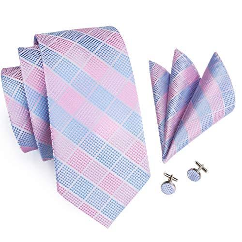 - Hi-Tie Men Check Plaid Tie Necktie with Cufflinks and Pocket Square Tie Set (Pink Sky Blue Check)
