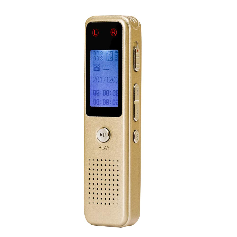 Voice Recorder, AURTEC 8GB Audio Sound Dictaphone with Metal Skins, Rechargeable Battery, Voice Activated, Double Microphone and MP3 Player, Golden