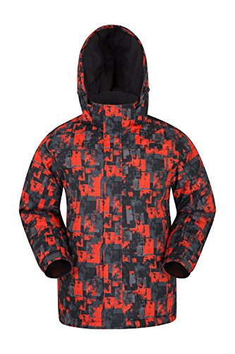 (Mountain Warehouse Shadow Mens Printed Ski Jacket - Warm Snow Jacket Bright Orange Large)