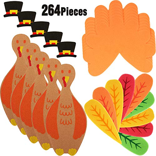 264 Pieces Thanksgiving Turkey Craft Kit DIY Foam Turkey Thanksgiving Party Game School Activities for Kids and Adults, Make Up To 24 Turkeys -