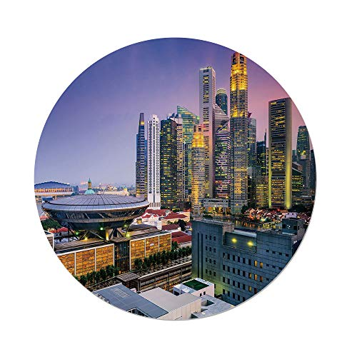 iPrint Polyester Round Tablecloth,Urban,Skyline Singapore at Evening Skyscrapers Stadium Active City Life Southeast Asia Decorative,Multicolor,Dining Room Kitchen Picnic Table Cloth Cover Outdoor Ind