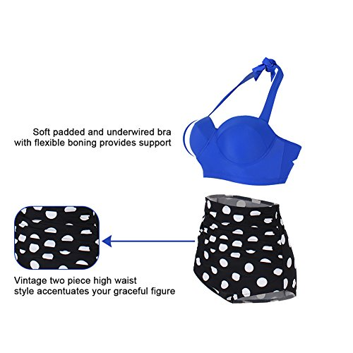 Bikini 3xl Donna Pin 2 alta Vita Dot Blu Polka Vintage Top Push Polka Up Tankini Feelingirl Swimsuit pezzi M pwaq0R0