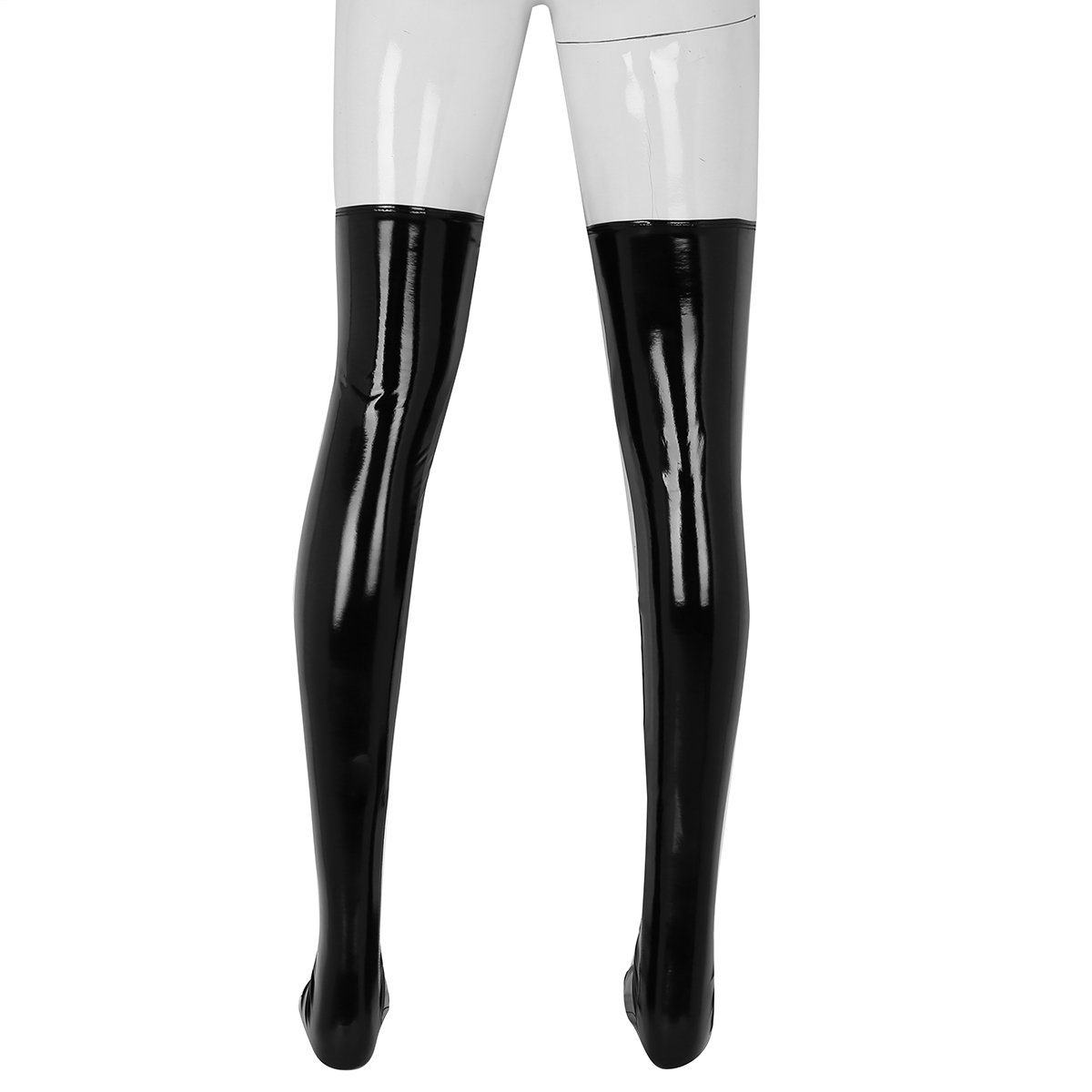 53a8aacb481 Amazon.com  ACSUSS Men s Wetlook PVC Leather Thigh High Footed Stockings  Tights Clubwear  Clothing