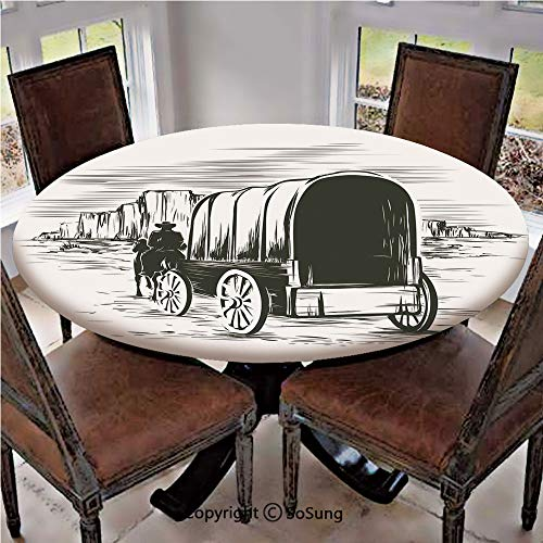 Elastic Edged Polyester Fitted Table Cover,Old Traditional Wagon Wild West Prairies Pioneer on Horse Transportation Cart Decorative,Fits up 56