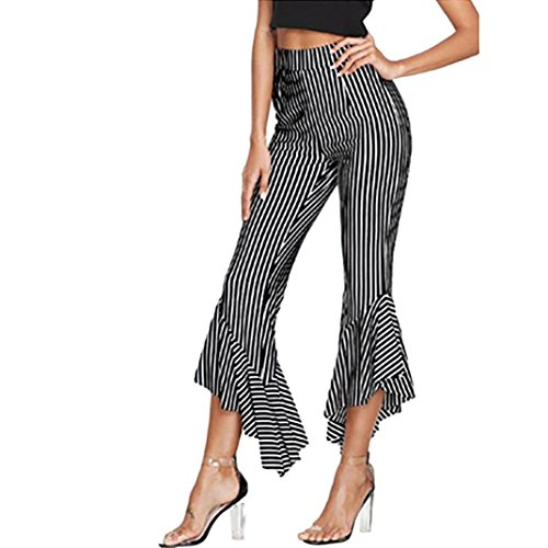 Women's Crop Pants,Holiday Striped Casual Sexy Flare Trousers (New Ladies Pleated Dress Pants)
