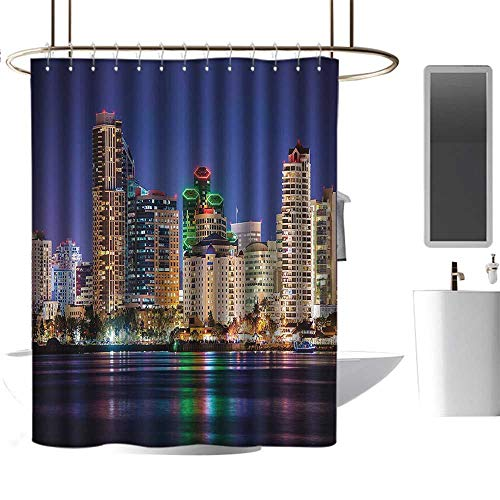 Apartment Decor Collection Colorful Skyline San Diego at Night North San Diego Bay Boats Architecture Urban Picture Navy Single stall Shower Curtain W36 x -