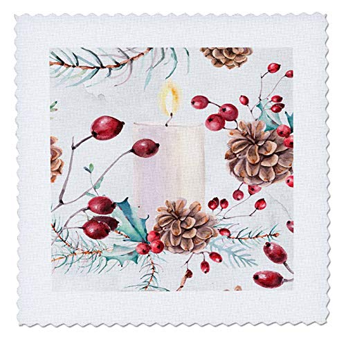 3dRose Anne Marie Baugh - Christmas - Elegant Image of Watercolor Pinecone Candle - 22x22 inch quilt square (qs_318532_9) ()