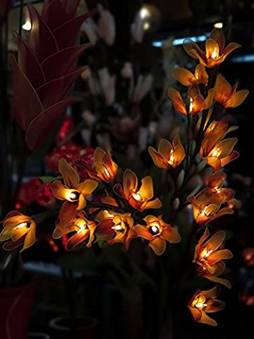 Thai Orchid Artificial Flowers Lamps, Vase/floor/table Lamps, Night Light, Wedding Lighting, Home Decor, Gift, Made By Nylon, Paper, Fabric, 20 Light Bulbs, 33 - Thai Natural