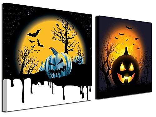Gardenia Art - Happy Halloween Canvas Prints 1 Pumpkin Lantern Wall Art Paintings Abstract Wall Artworks Pictures for Living Room Bedroom Decoration, 12X12 inch, 2 Panels for $<!--$22.99-->