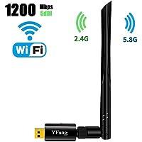 Adaptador WiFi USB de Banda Dual 1200Mbps, USB 3.0 Tarjeta Red WiFi Dongle con Antena de 5dBi Receptor WiFi para PC / Escritorio / Laptop / Tablet, Dual Band 2.4G / 5G 802.11 ac, Soporte para Windows Linux Mac OS(1200 Adaptador WiFI)