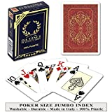 DA VINCI Persiano Red, Italian 100% Plastic Playing Cards, Poker Size Jumbo Index