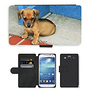 Hot Style Cell Phone Card Slot PU Leather Wallet Case // M00113406 Dog Puppy Sausage Brown Small Cute // Samsung Galaxy S3 S III SIII i9300