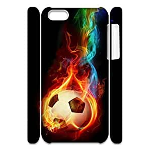 Customized Durable Case for Iphone 5C 3D, Fire Soccer Ball Phone Case - HL-R660543