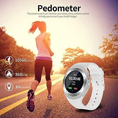 SEPVER Reloj Inteligente Smartwatch para iOS iPhone y Android Hombres Mujeres (Blanco)