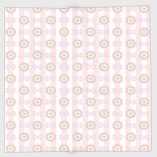 (Polyester Bandana Headband Scarves Headwrap,Light Pink,Cute Striped Backdrop with Chamomiles in Circles Ribbons Soft Retro Decorative,Light Pink White Yellow,for Women)