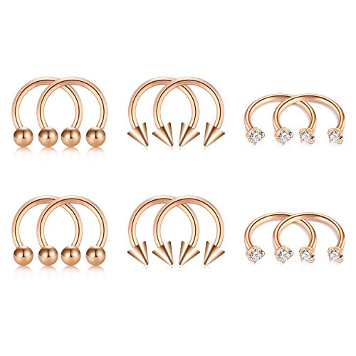 (D.Bella Rose Gold Septum Ring, 16G 8mm Horseshoe Nose Ring Septum Rings for Cartilage Earring Lip Eyebrow Piercing)