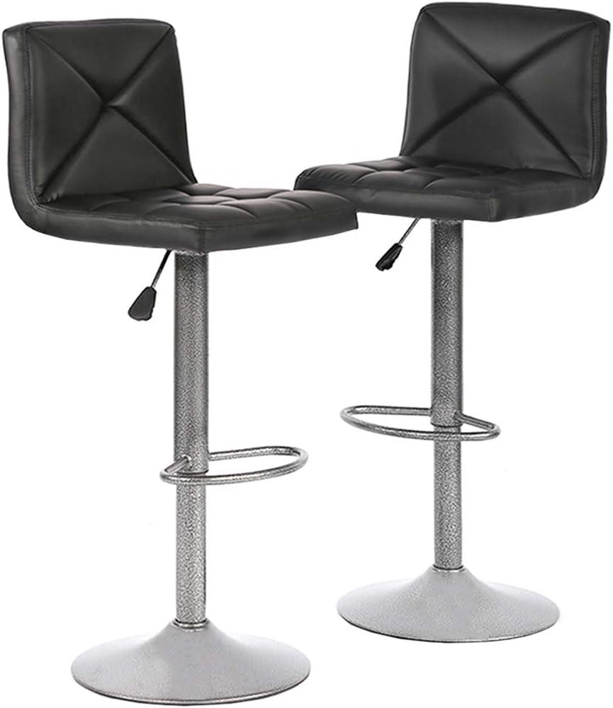 PayLesshere 2 PU Leather Modern Adjustable Swivel Barstools Hydraulic Chair Bar Stools