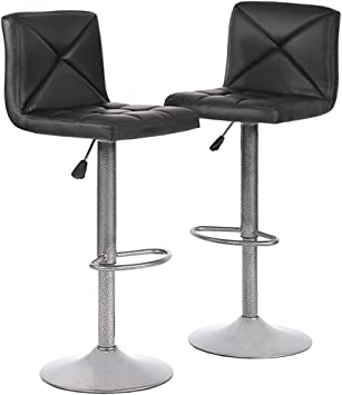 Bar Stool Set of 2 Swivel Counter Height Chairs Adjustable Water Resistant Retro Feather Fabric Bar Chairs for Bar Kitchen Indoor Outdoor Grey Support 300lbs