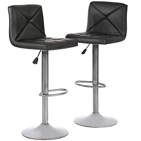 PayLesshere 2 PU Leather Modern Adjustable Swivel Barstools Hydraulic Chair Bar Stools