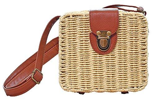 Obosoyo Women Retro Summer Straw Bags Small Box Cross Body Bag Beach Sea Shoulder Messenger Satchels Beige by Obosoyo