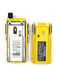 2PCS BaoFeng 5W UV 82 Dual Band UV82 VHF   UHF Radio de dos vías portátil analógica amarilla