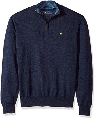 Jack Nicklaus Men's Long Sleeve 1/4 Zip Sweater, Classic Blue Heather, L