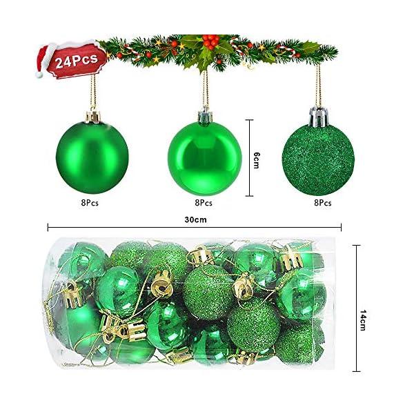 WELLXUNK Palline di Natale, 24pcs Albero di Natale Palla Decorazioni, Palline di Natale Opache, Palline di Natale Infrangibili, Palle infrangibili per Decorazioni Natalizie da Appendere (Verde) 2 spesavip