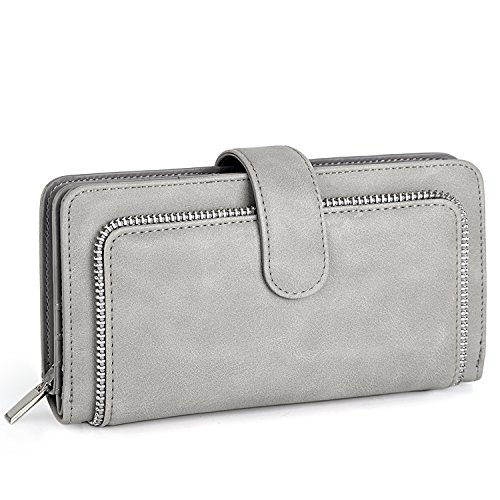 UTO Women PU Leather Wallet RFID Blocking Large Capacity 15 Card Slots Smartphone Holder Snap Closure New Grey