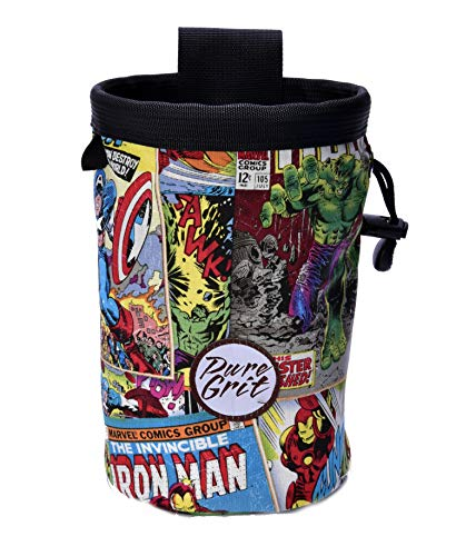 Pure Grit Super Heroes at Large 7 inch Rock Climbing Chalk Bag (USA Made) ()