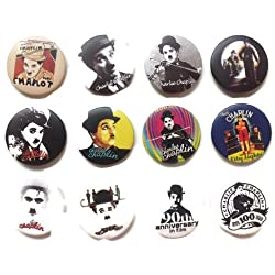 The Bigger Vivider 1.75 Lot 12 Awesome Pin Button Badge Charlie Chaplin fan 2