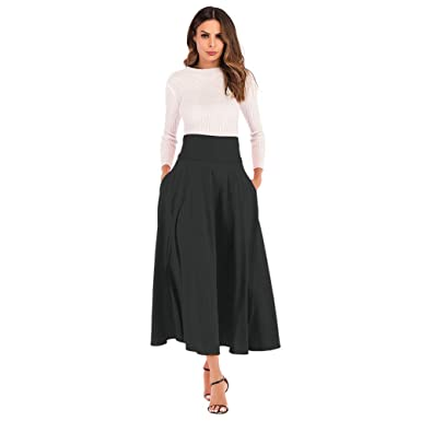 f5cf4c022ba3 CHIDY A-Line Skirt for Women High Waist Pleated Long Skirt Front Slit  Belted Maxi
