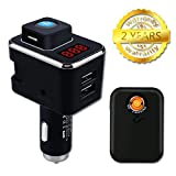 DUAL USB Bluetooth Car Charger, 24W Intelligence Display fast Charging adapter with Bluetooth Headphone/Cigarette lighter for iPhone 7/6s/Plus iPad Sony Samsung Galaxy S8 / S7 LG Nexus, HTC & More