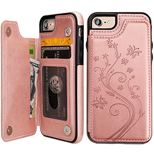 iPhone 7 iPhone 8 Case Wallet with Card Holder, Vaburs Embossed Butterfly Premium PU Leather Double Magnetic Buttons Flip Shockproof Protective Cover for iPhone 7 iPhone 8 Case(Rose ()