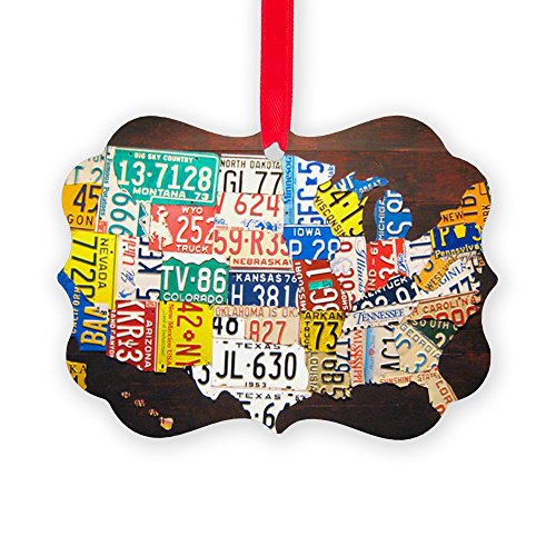 CafePress - United States License Plate Map - Christmas Ornament, Decorative Tree Ornament by CafePress