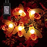 Dreamworth Plug in Bee String Lights, 33Ft 100 Led Bee Shape Fairy String Lights 8 Modes String Lights for Garden, Patio, Lawn Decoration (Warm White)