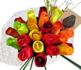 Fall Harvest Festival Thanksgiving Flower Bouquet The Original Wooden Rose Closed bud (2 Dozen)